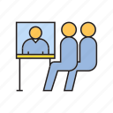 business meeting, conference, meeting, office, online meeting, sitting, worker icon