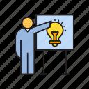 creative, employer, idea, light bulb, present, think, whiteboard icon