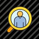 head hunter, human resource, magnifier, manpower, recruiting, scan, view icon