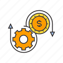 allocate, cog, dollar, finance, gear, money, system icon