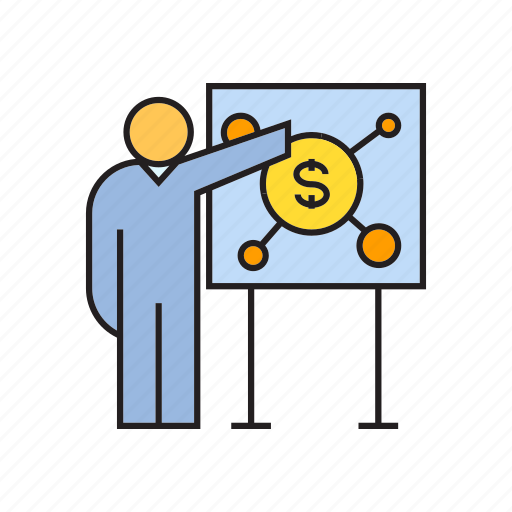 business, finance, management, money, office, present, whiteboard icon