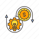 allocation, cog, coin, creative, gear, idea, money