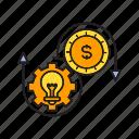allocation, cog, coin, creative, gear, idea, money icon