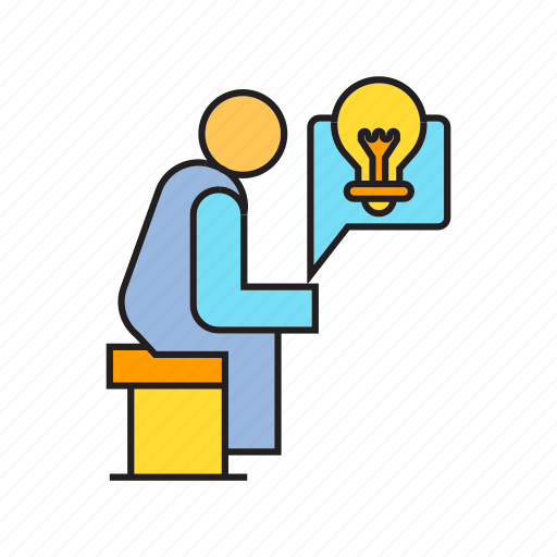 creative, idea, light bulb, people, sitting, think, thinker icon