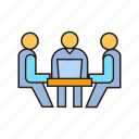 business meeting, consultant, consulting, meeting, office, sitting icon