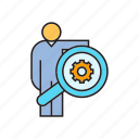 cog, gear, magnifier, optimization, people, scan, search icon