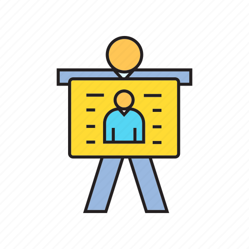 business card, employer, people, present, profile, worker icon