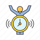alarm clock, alert, clock, people, time icon