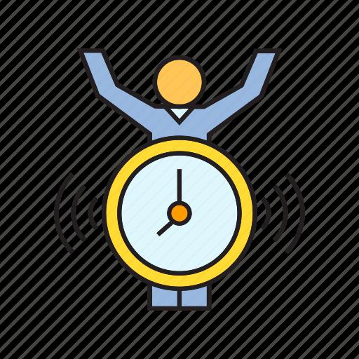 alarm clock, alert, clock, people, time icon
