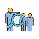 human resource, magnifier, management, manpower, people, recruiment, recruiting icon