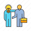 business, collaborate, deal, executive, idea, management, people icon