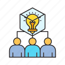 brainstorm, bulb, collaborate, creative, idea, people, thinking icon