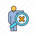 ban, magnifier, no, people, scan, search, wrong icon