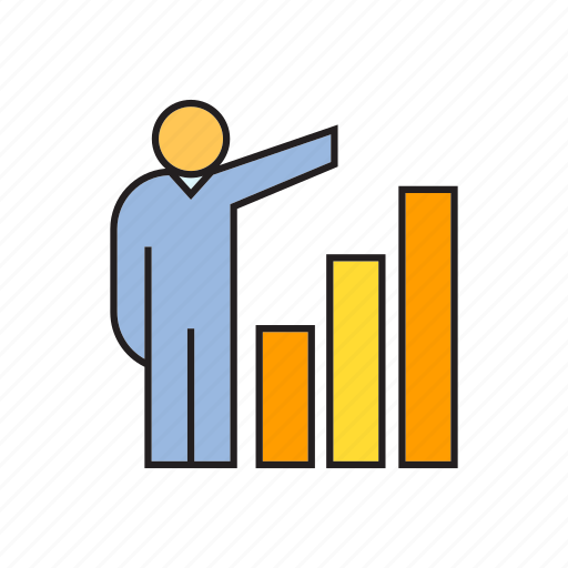 bar chart, growth, management, people, profit icon