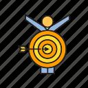 arrow, dart, focus, game, goal, people, target icon