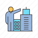 building, capitalist, entrepreneur, investor, real estate, tower, tycoon icon
