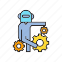 android, artificial intelligence, bot, gears, humanoid, robot icon