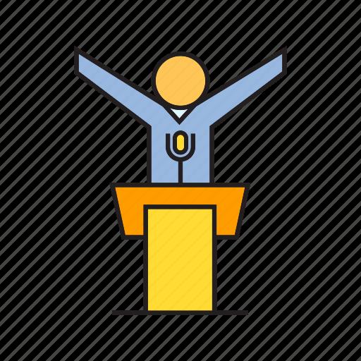executive, leadership, management, podium, speaker, success icon