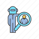 artificial intelligence, human resource, magnifier, robot, robot worker, search icon