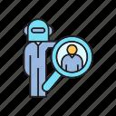 artificial intelligence, human resource, magnifier, robot, robot worker, search