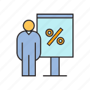 discount, people, percentage, present, sale, whiteboard icon