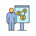 finance, money, people, presentation, whiteboard icon