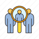 human resource, magnifier, man power, recruiting, scan, search icon