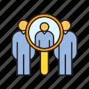human resource, magnifier, man power, recruiting, scan, search