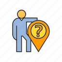 ask, location, people, pin, problem, question, standing icon