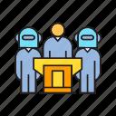 artificial intelligence, board, collaborate, company, corporate, robot, speaker icon