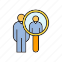 human resource, managment, people, recruiting, scan, search icon