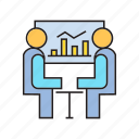 business course, business meeting, consultant, consulting, executive, graph, people icon