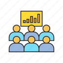 audience, business course, chart, conference, graph, training icon