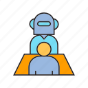 artificial intelligence, employee, employer, executive, interview, job interview, robot icon