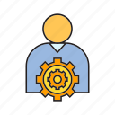 cog, gear, people, setting, user icon