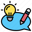 bulb, dialog, idea, light, pencil