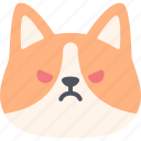 angry, corgi, dog, emoticon, emoji, face, avatar