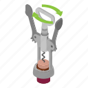 bar, bottle, cartoon, corkscrew, isometric, opener, stainless icon