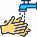 hygienic, water, hands, hand wash, rubbing, soap, cleaner icon