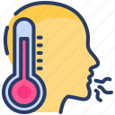 cold, cough, disease, fever, pneumonia, sneeze, temperature icon