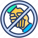 avoid, banned, handshake, ignore, safety, social distance, stay away icon