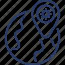 corona virus, viral, infected, epidemic, location, area, global icon