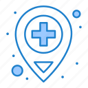 hospital, location, medical icon