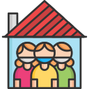 mask, people, quarantine, stay at home icon