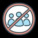 ban, congregation, distancing, no, quarantine, social icon