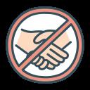 hand, handshake, no, shake, touch icon