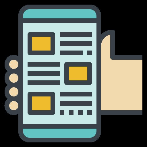app, follow, mobile, news, read icon