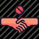 coronavirus, handshake, prohibited, shake icon