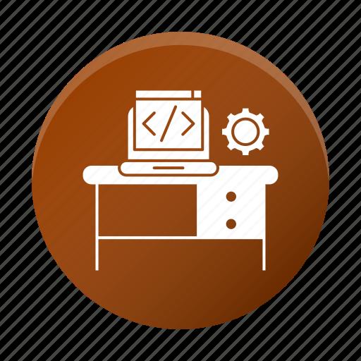 business, code, corporate, development, device, gear, workplace icon