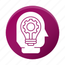 business, corporate, efficiency, gear, head, idea icon